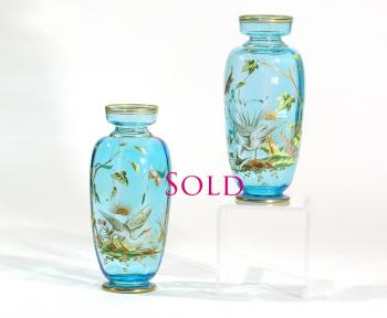 pair of baccarat hand painted enamel turquoise crystal vases