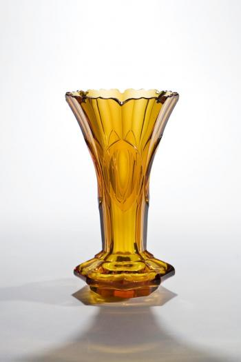 Moser Amber Crystal Panel And Notched Rim Cut Vase Vases