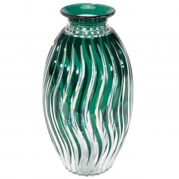 Monumental Val St Lambert Hand Blown Green Cutto Clear Crystal Art