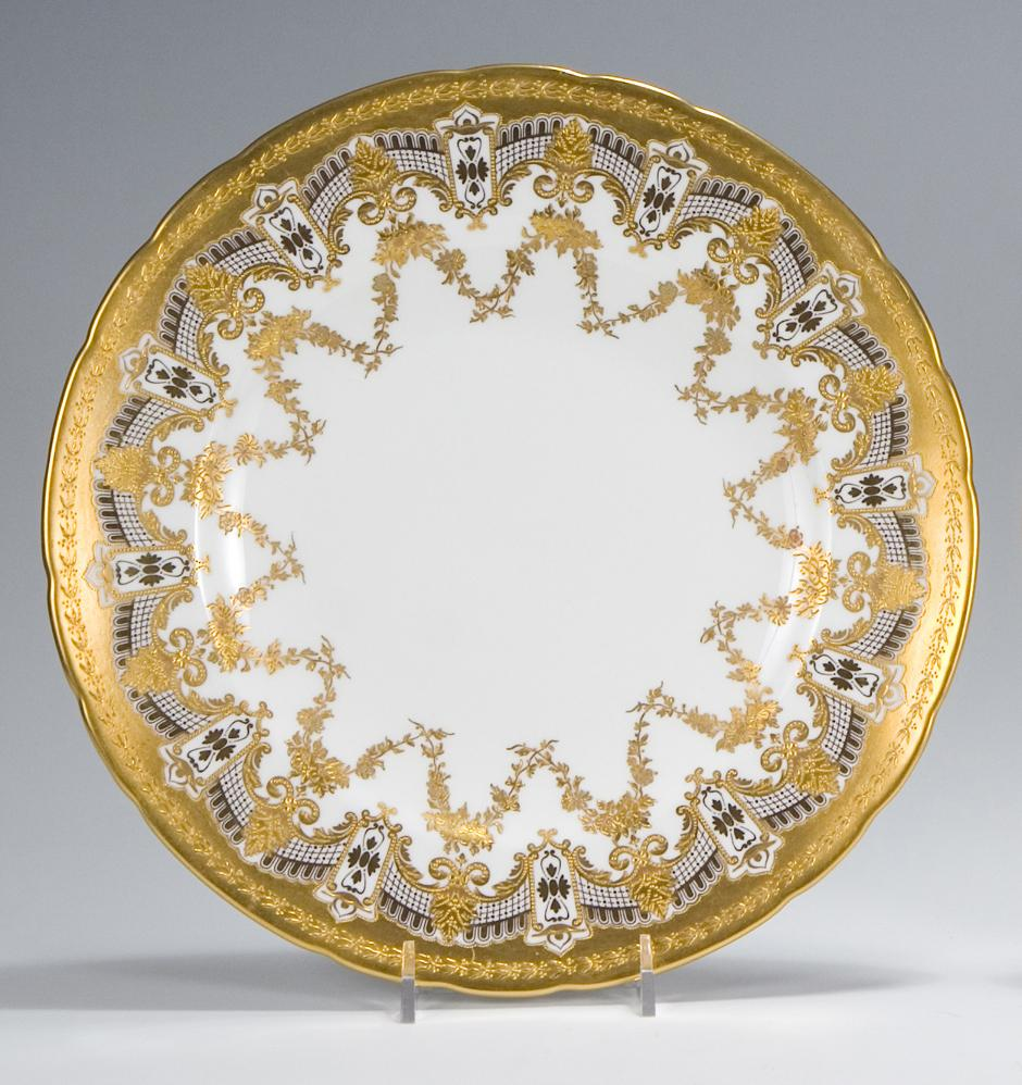... Dinner Plates with Raised Paste Gold. Hover to ZoomView Fullscreen  sc 1 st  Elise Abrams Antiques & 12 Royal Crown Derby Dinner Plates with Raised Paste Gold | Dinner ...