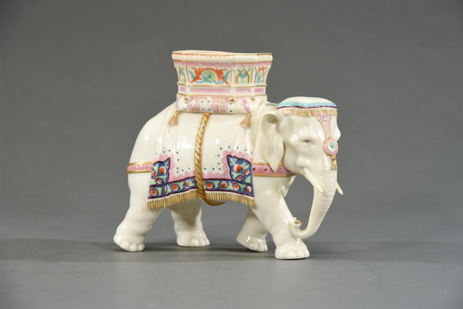 19th C  Worcester Porcelain Figural Elephant Vase | Ceramics | Elise
