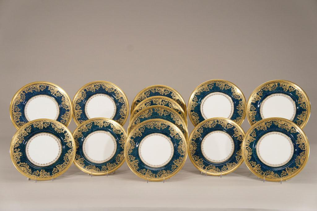 Set Of 12 Royal Doulton Quot Shagreen Quot Teal Dinner Plates