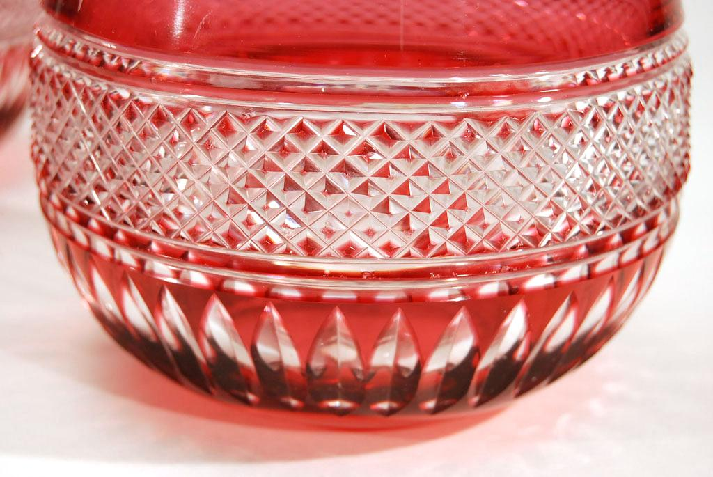 Set Of 12 Cranberry Overlay Cut To Clear Crystal Wine