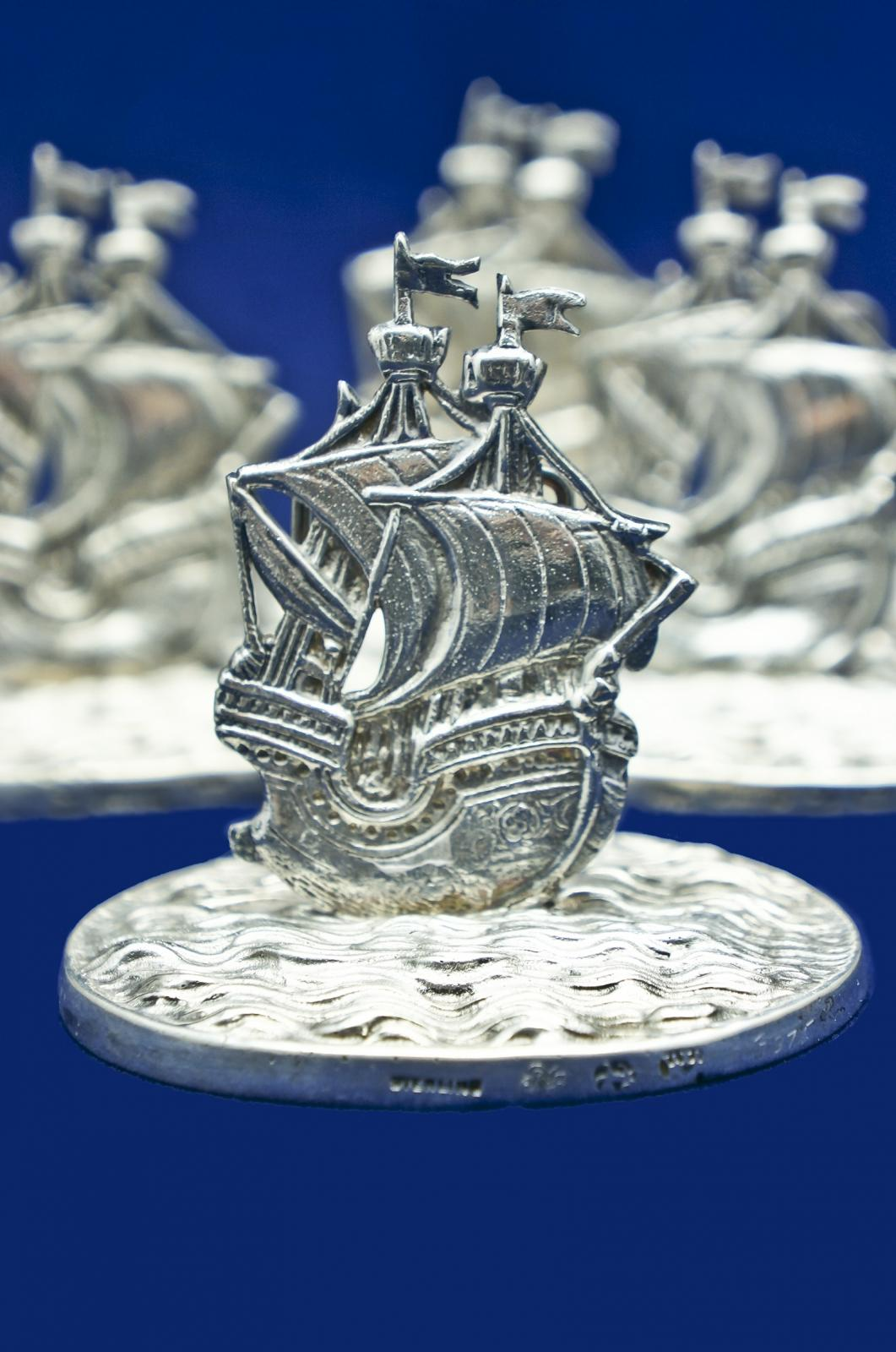 Set Of 10 Extrordinary Sterling Silver Galleon Ship Place