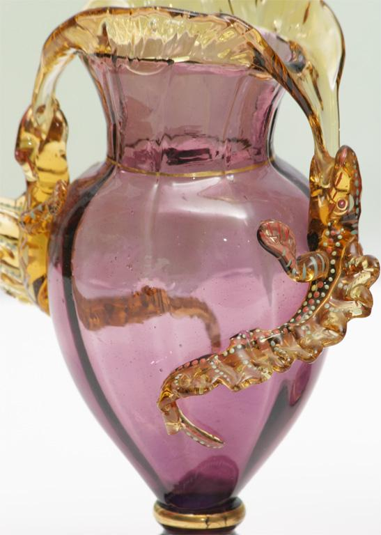 Pair Of Moser Hand Blown Amethyst Vases With Lizards 10 1